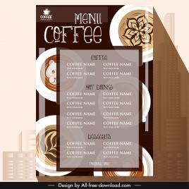 coffee menu template elegant classical brown cups decor