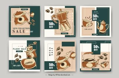 coffee sale poster templates retro handdrawn symbols sketch