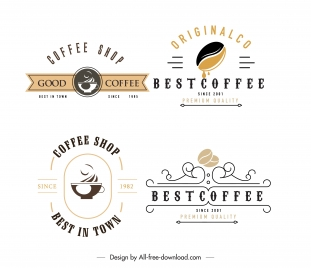 coffee shop logo templates flat sketch elegant classic