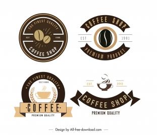 coffee shop logotypes dark bright flat decor