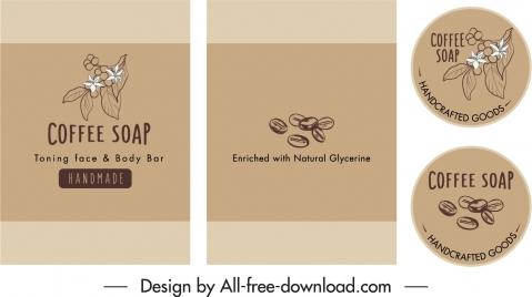 coffee soap labels templates classic handdrawn design