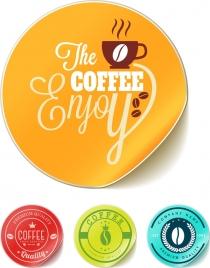 coffee stamp templates shiny colorful circle design
