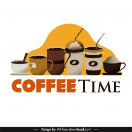 coffee time advertising banner cups sizes sketch