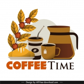 coffee time advertising poster breakfast preparation sketch