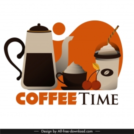 coffee time banner flat pot cup glass sketch