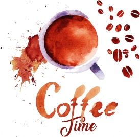 coffee time banner grunge brown design
