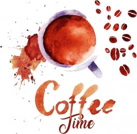coffee time banner grunge brown design