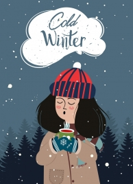 cold winter drawing girl icon colored cartoon