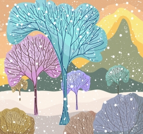 cold winter drawing leafless trees colorful flat decor
