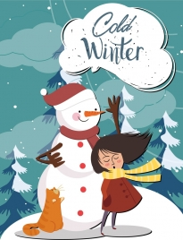 cold winter drawing snowman girl icons colored cartoon