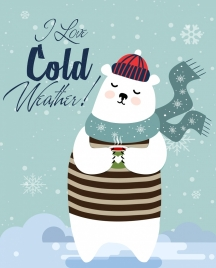 cold winter drawing stylized white bear calligraphy decor