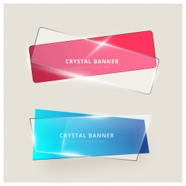 colored shiny crystal banners vector illustration