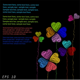 colorful hand drawing hearts template with text space