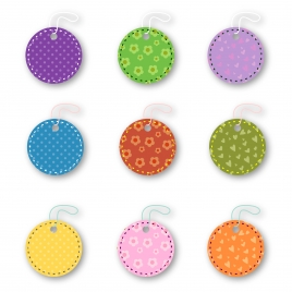 colorful hang tag round icons sets