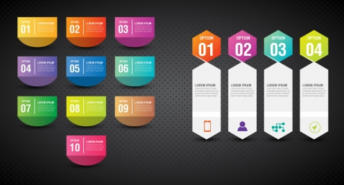 colorful inforgraphic sets illustration with vertical tabs
