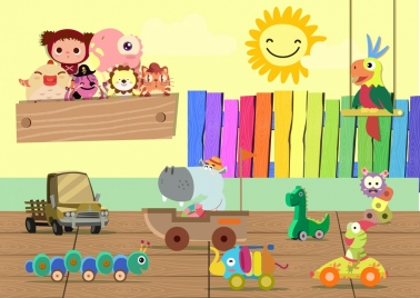 colorful toys icons background 3d design