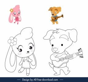 coloring book elements cute stylized bunny puppy sketch