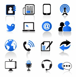 Communication and Media Icons Set