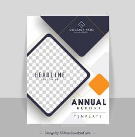 company annual report template elegant checkered geometric decor