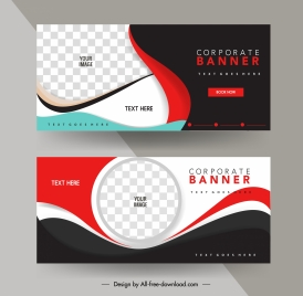 company banner templates dynamic curves checkered decor