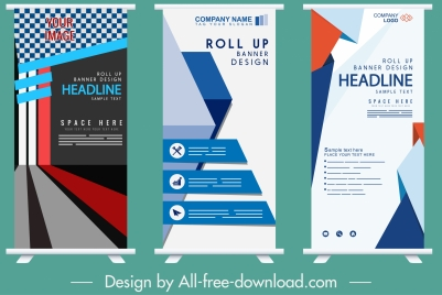 company banner templates rolled up shape modern decor