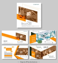 company brochure templates modern design leaves decor