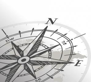compass background closeup handdrawn sketch