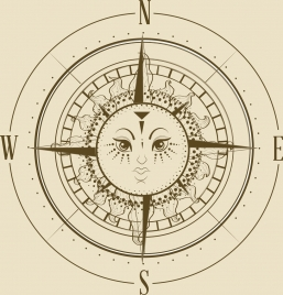 compass background flat retro design