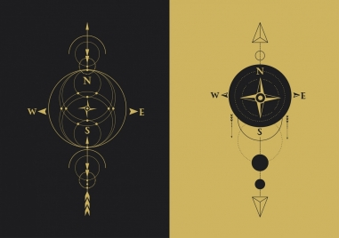 compass background templates flat circles arrows ornament