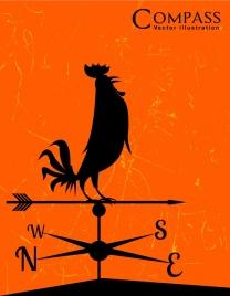 compass icon retro silhouette design rooster decor