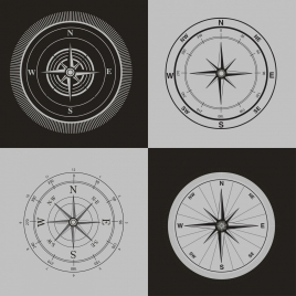 compass icons sets black white retro design