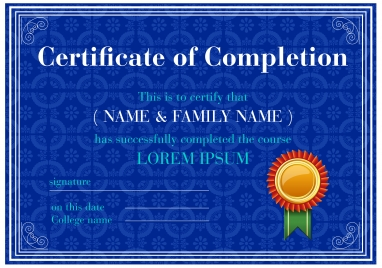 completion certificate illustrations with blue vignette background