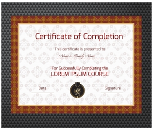 completion certificate vector illustration with classical frame