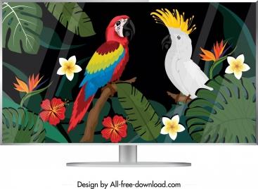 computer screen icon colorful tropical parrots decor