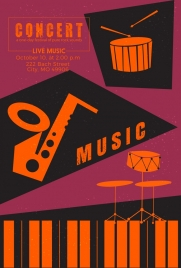 concert banner musical instruments icons retro design
