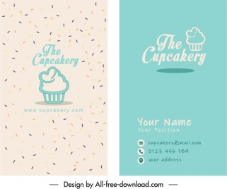 confectionery name card template classic flat handdrawn sketch