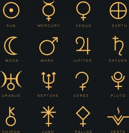constellation sign design elements yellow flat shapes