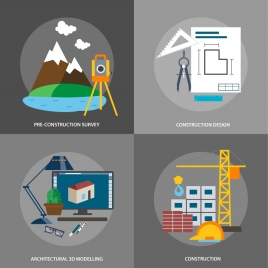 construction concepts isolated with various works in circle
