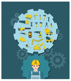 construction service concept with tools and gears icons