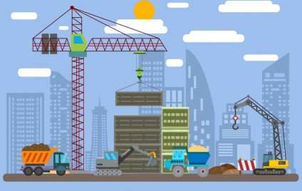 construction site drawing crane vehicles building icons