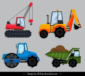 construction vehicles icons colored modern flat sketch