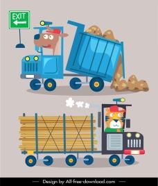 construction vehicles icons truck trailer sketch cartoon design