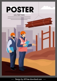 construction work poster site activity sketch cartoon design