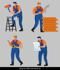 construction worker icons colored cartoon characters sketch