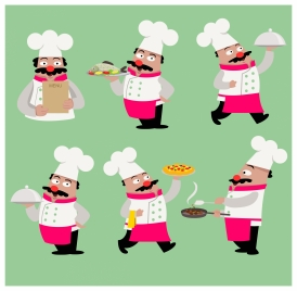 cook icons illustration in various poses