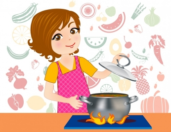 cooking background female cook icon vignette ingredients backdrop