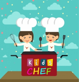 cooking background kids preparing food kitchenwares icons