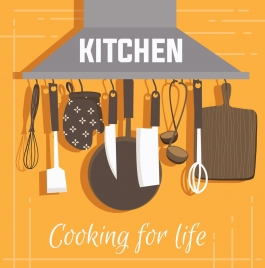 cooking banner kitchenware icons decor