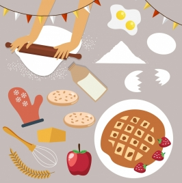 cooking design elements food flour tools icons