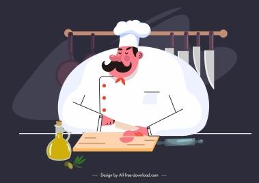 cooking job painting cook preparing food cartoon sketch